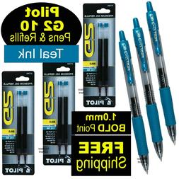 Pilot G2 10 Teal, 1.0mm Bold Point, Teal Gel Ink Rollerball