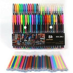 Gel Colors Pens 48 Set Glitter Refills Metallic Neon for Adu