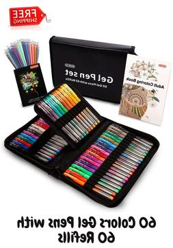 Gel Pens Shuttle Art 120 Pack Set 60 Colored with 60 Refills