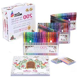 Cedar Markers Gel Pens. 200 Set with Unique Adult Coloring B