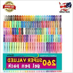 Gel Pens 260 Colors Set for Adult Coloring Books Writing Kid