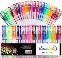 48 Piece Set Glitter Gel Pens For Coloring Books, Drawing