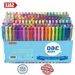 Gel Pens Pen Set 360 Colors For Adult Glitter Coloring Books