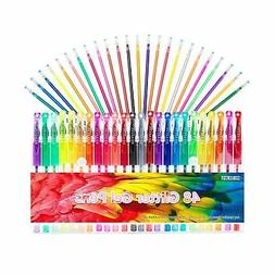 Gel Pens Set 24 Colored Glitter Pen with 24 Refills for Adul