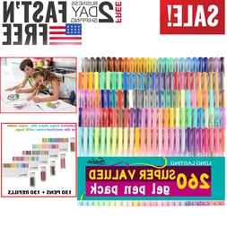 Gel Pens Set 260 Pack 130 Colored Plus Refills For Adult Col