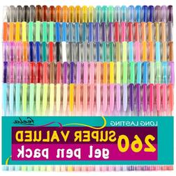 260 Colors Gel Pens Set for Adult Coloring Books Writing Kid