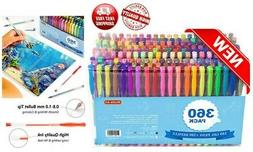 360 Pack Gel Pens Set, Shuttle Art 180 Colors Gel Pen Set Pl