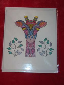GIRAFFE Hand-Colored with Gel / Glitter Pens Art, Picture, P