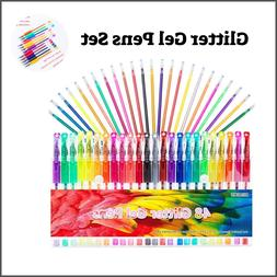 Glitter Gel Pens Set 24 Colored Glitter Pen W/24 Refills Cra