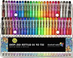 Glitter Gel Pens by Color Technik, Set of 50 Individual Colo