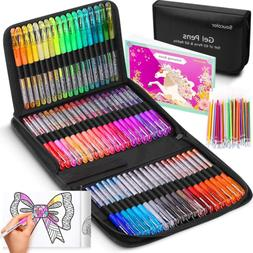 Glitter Gel Pens for Coloring Books, 122 Pack Artist Colored