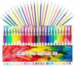 Glitter Gel Pens Set 24 Colored Glitter Pen with 24 Refills