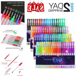 Glitter Gel Pens Set 80 Colors Gel Markers Pen for Adult Col