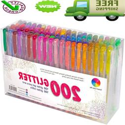 200 Pack Glitter Gel Pens Set, Smart Color Art 100 Colors Ge