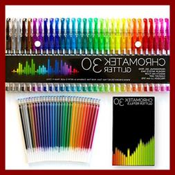 Glitter Pens 60 Set By . Best Colors. 200% The Ink 30 Gel Re