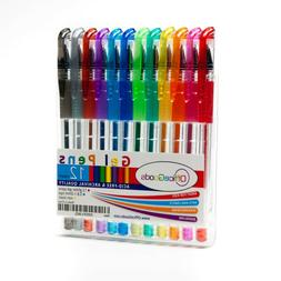 Glitter Pens Coloring Bright Colors Gel 12 Pack Kids Adults