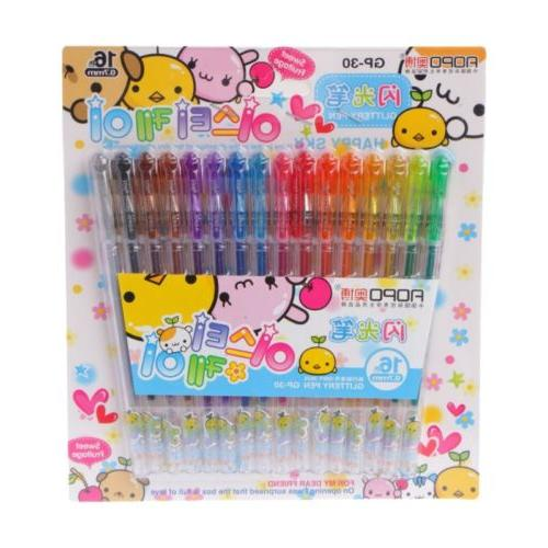1 Set 16 Colors Gel Pens Glitter Coloring Drawing Painting M