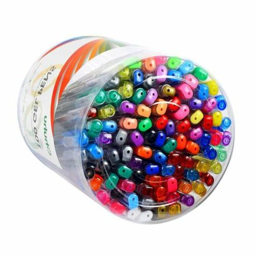 100 Pcs Colorful Bright Metallic Neon Gel Pens Set For Craft