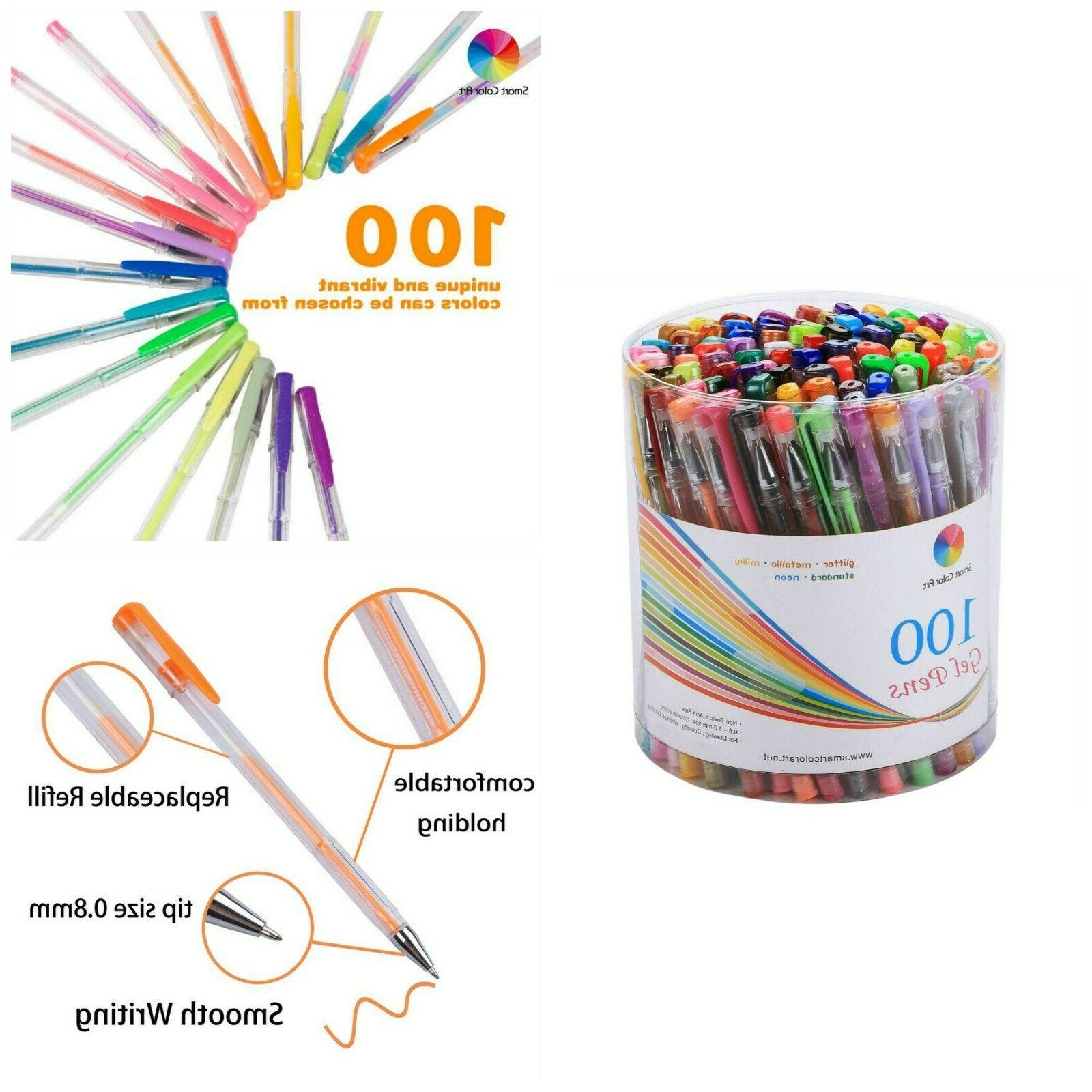 Smart Color Art 100 Colors Gel Pens Set Glitter Pen For Adul