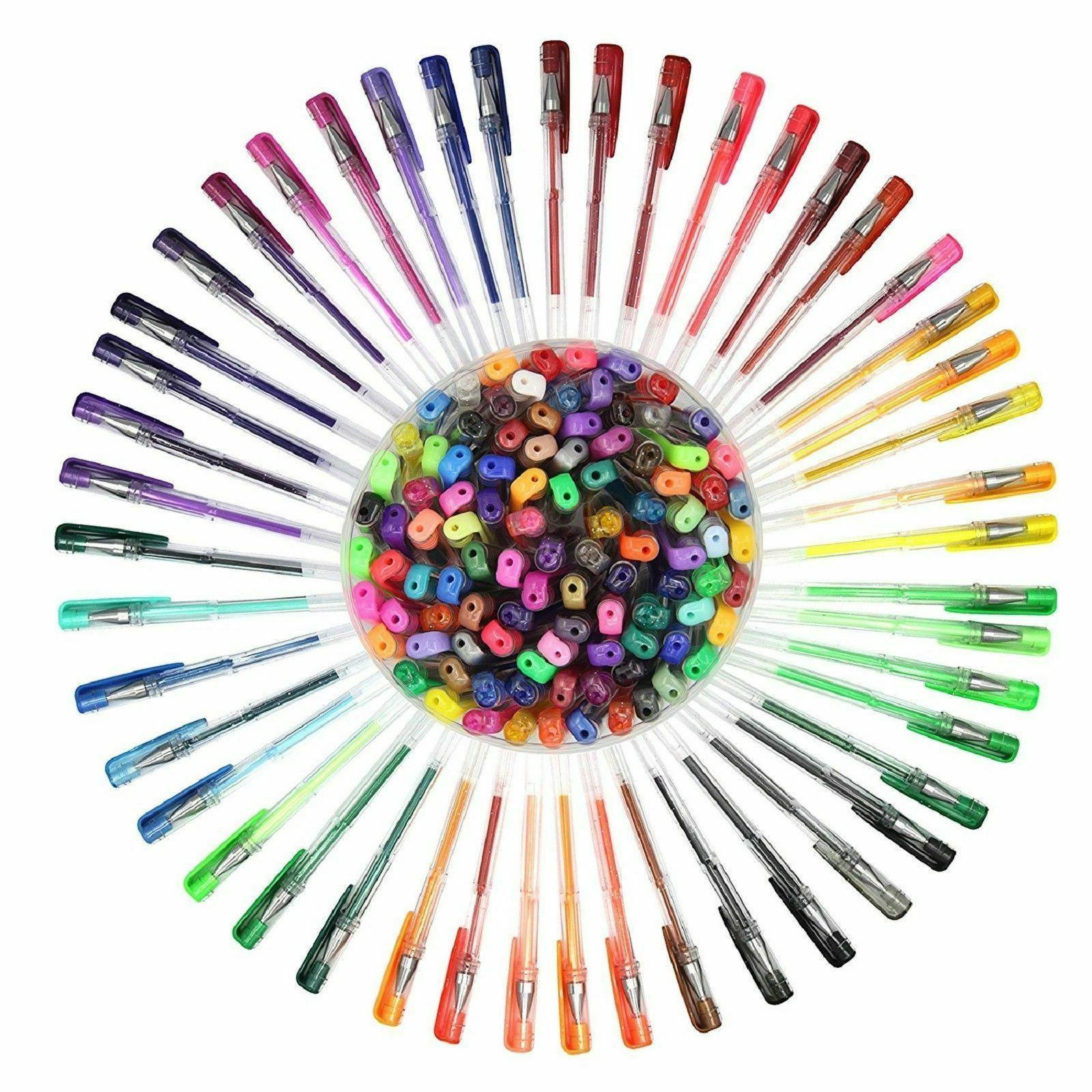 100 Gel Pens Set Glitter Metallic Neon Individual Colors Adu