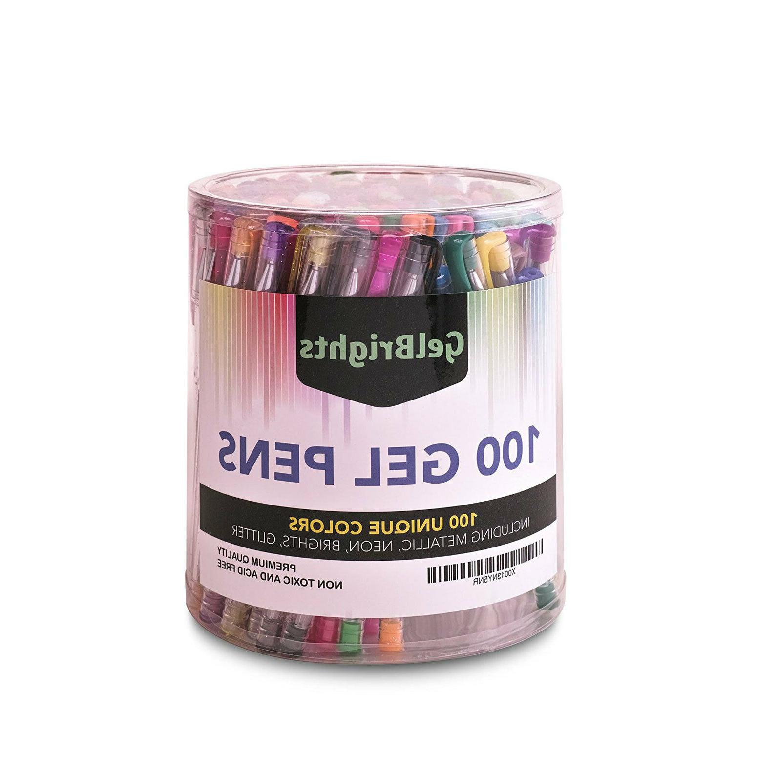 100 Gel Pens Set of Colors Metallic Non Toxic