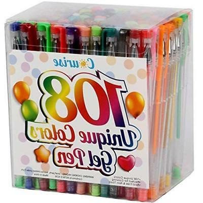 Coloring Gel Pens, UnityStar 300 Set of Colorful Gel Pens wi