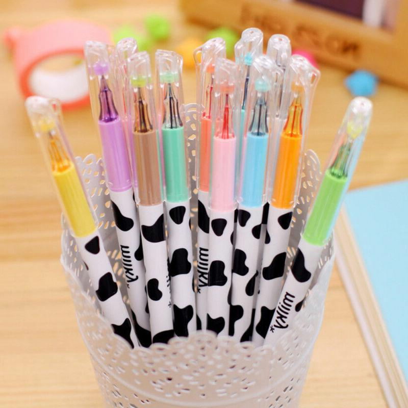 12Pcs Cute Milky Pens Pen Set Study Stationery Student