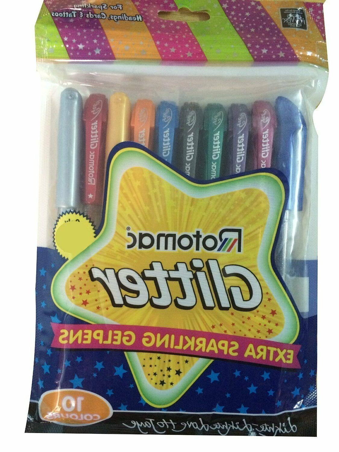 12x Rotomac Glitter Gel 10 Colors Extra Sparkle Gel Pens | P