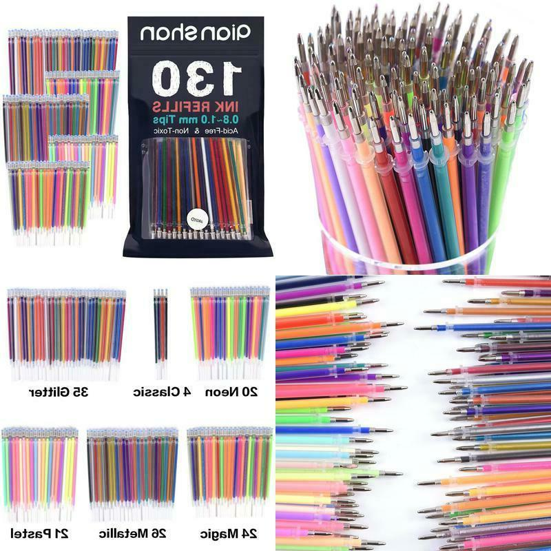130 gel pens refills metallic neon colors