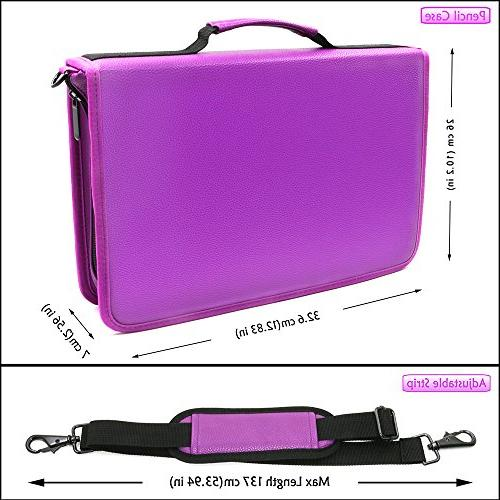 YOUSHARES & Gel Large Flexible Slot - PU Leather Colored Case with Zipper 180 or 140 Gel for Watercolor Pencils, Pens(Purple)