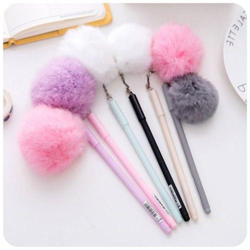 1PCS Portable Korea Style Plush Gel Ink Pens Ballpoint Fur P