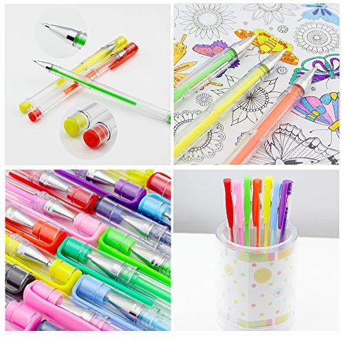CLEARANCE Pens 100 Gel Colored plus Adults Coloring Books, Writing