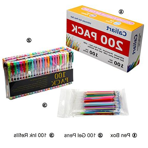 Pens Set 100 Colored plus 100 Refills for Adults Drawing, Writing
