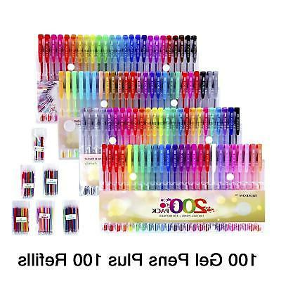 200 Gel Pens Glitter Metallic Neon Colors for Kids Adult Coloring