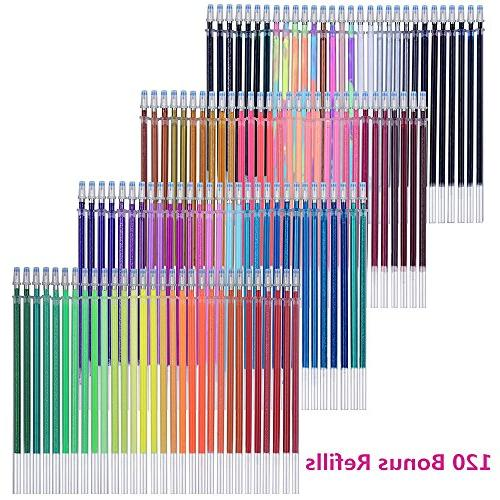 Tanmit 240 Gel Pens Set Colored Pen plus 120 for Adults Drawing Art