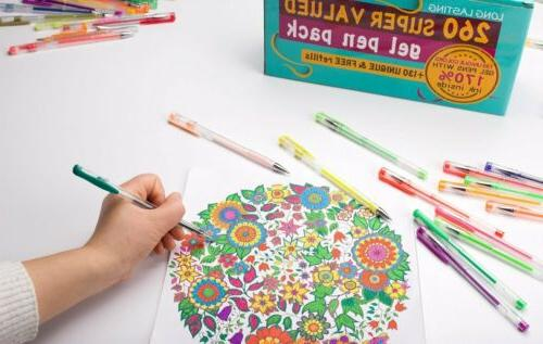 260 Colors Pen Set for Glitter Coloring Books Kid Drawin