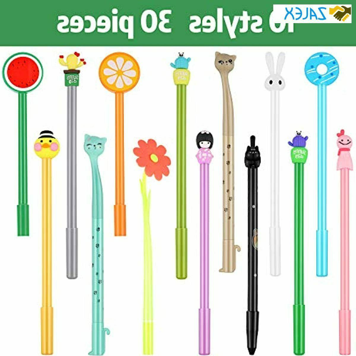 30 Pieces Cute Gel Ink Pens Assorted Writing Pens