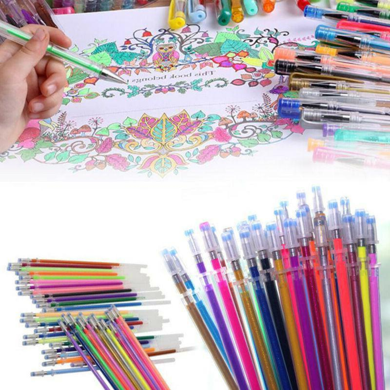 48 Colors Gel Pens Refill Glitter Coloring Drawing Painting