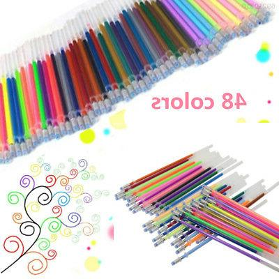 48 Colors Gel Pens Set Glitter Sketch Drawing Painting Craft