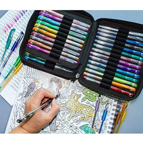ColorIt 48 Pens For Adult Coloring Glitter with 48 Ink Total