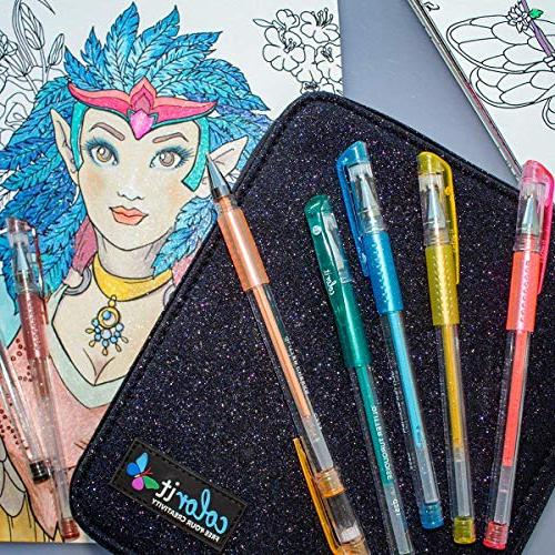 ColorIt Gel Pens For Books - Glitter with Case Ink Refills Total