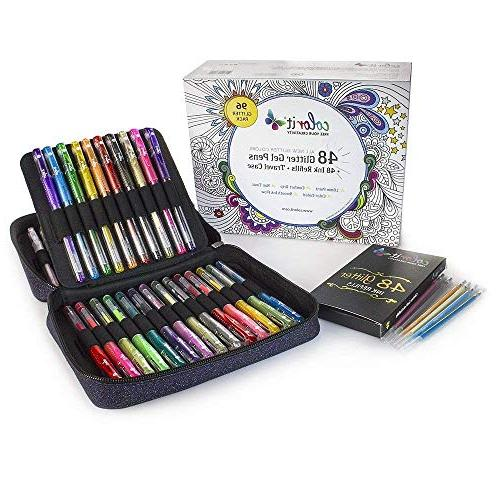 ColorIt Glitter Pens For Adult Books - Glitter Colors, Pens with Case Ink Total Glitter