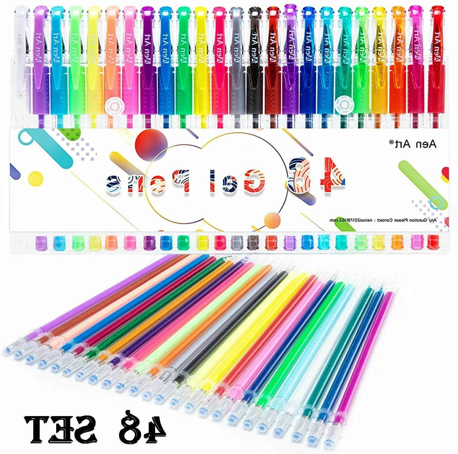 48 Set Color Gel Pens Point Art Markers  24 Refills for Kid