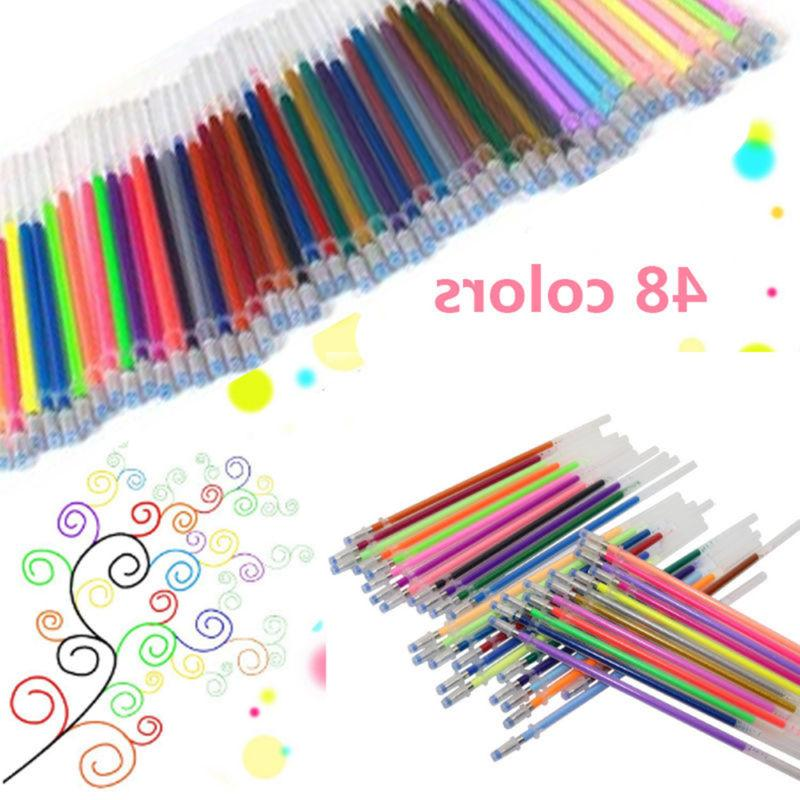 48PCS/Set Glitter Gel Pens Coloring Drawing Painting Craft M