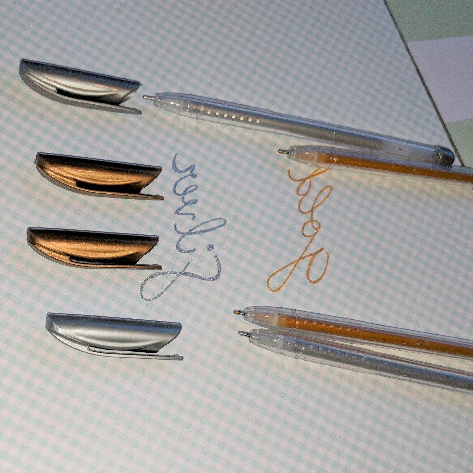 4x Silver Pens Glitter cards notes glamour