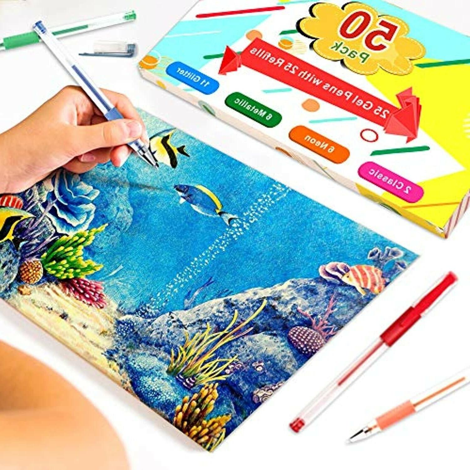 50 Pack Pens For Coloring Kids Crafting Adult Gift