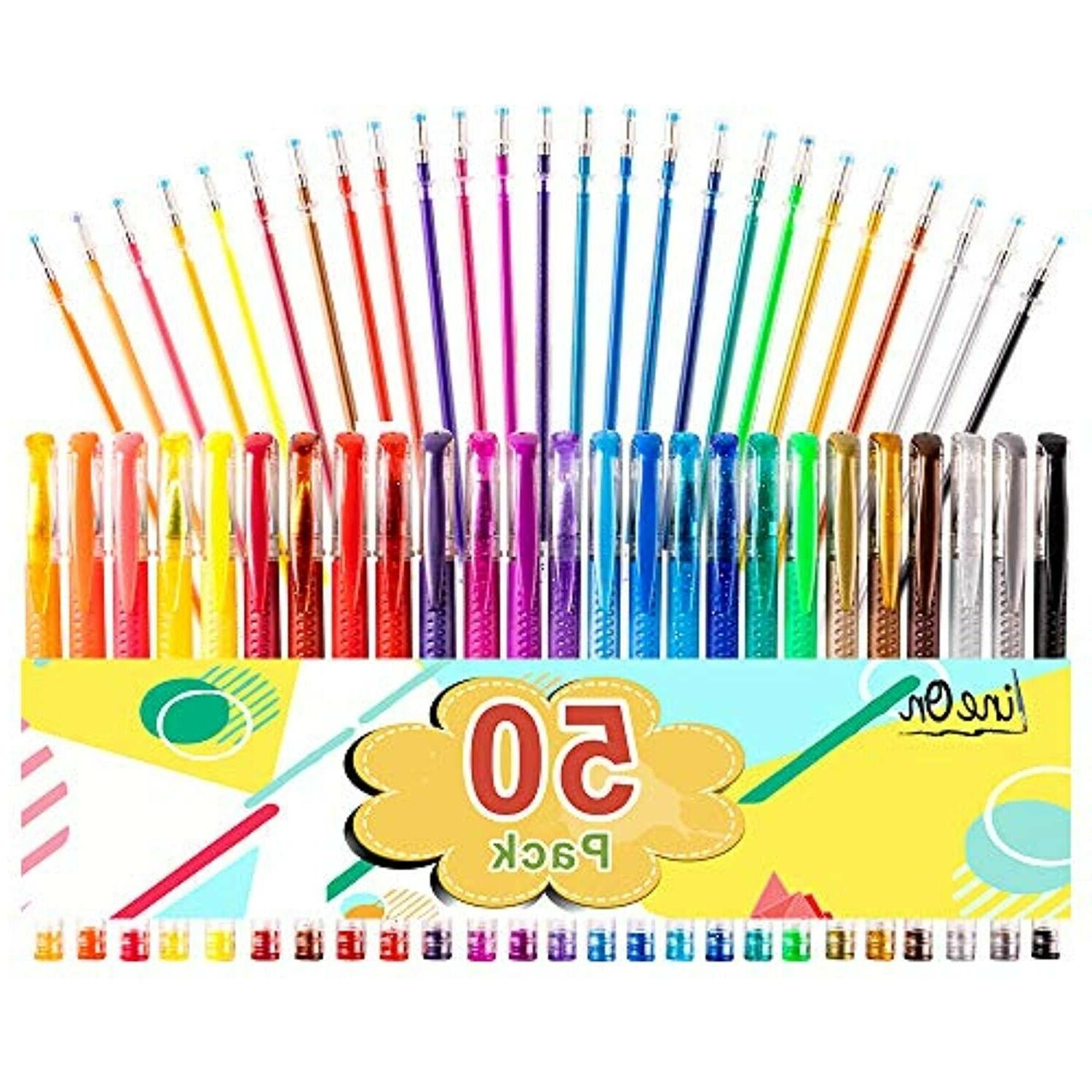 50 pack colored gel pens for coloring