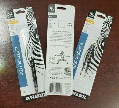 6 Gel Ink Refills for Zebra G-301 Gel Stainless Steel Pens B