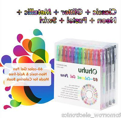 60Pcs Colorful Gel Pen+60Pcs Ink RefillsSet Smooth Glide Art