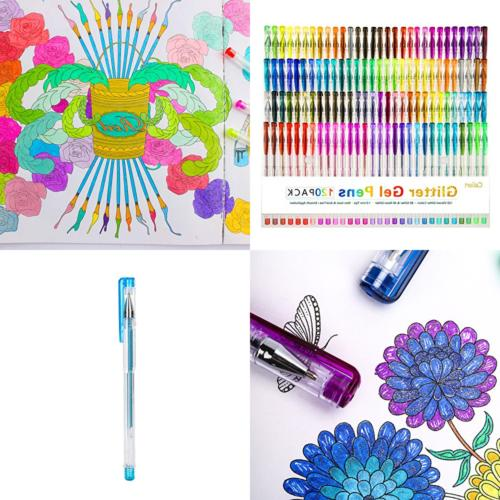 Glitter Gel Pens For Adult Coloring Books Neon Colored Art M